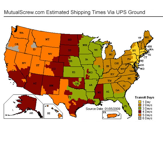 US Time in Transit Map