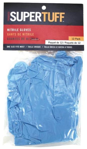 12 PACK OF L/XL BLUE NITRILE, DISPOSABLE CHEMICAL RESISTANT NITRILE GLOVES