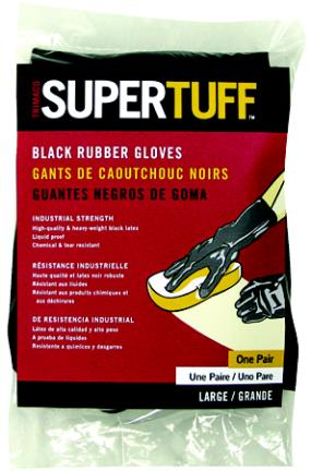 LARGE PROFESSIONAL PROTECTIVE BLACK RUBBER GLOVES