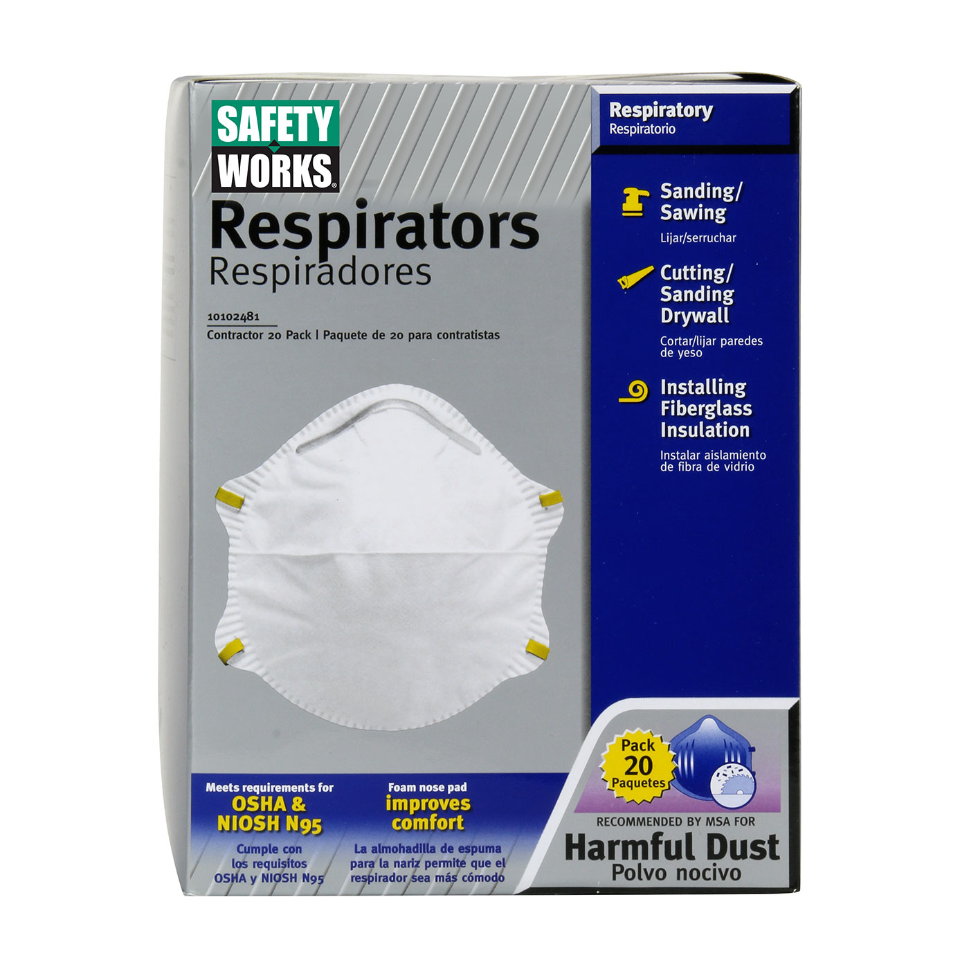PIP Safety Works® N95 Harmful Dust Disposable Respirator - 20 Pack