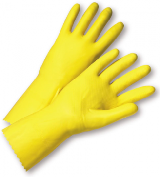 West Chester Premium 18 Mil Flock Lined Yellow Latex Coated Gloves