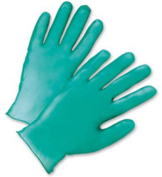 West Chester 5.5 Mil Industrial Grade Lightly Powdered Green Vinyl Gloves