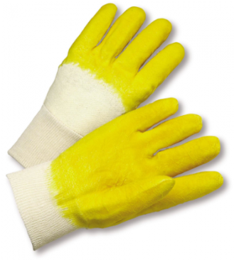 West Chester Jersey Lined Crinkle Finish Latex Palm Coated Gloves (Knit Wrist)