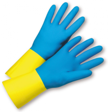 West Chester Premium 28 Mil Blue Flock Lined Neoprene Over Yellow Latex Chemical Resistant Gloves