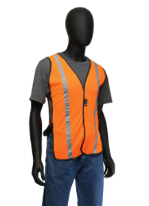 "One Size Fits All Orange Mesh Vest With 1"" Silver Reflective Tape"