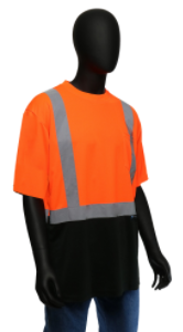 West Chester Large Orange/Black Bottom Class 2 Color Block Short Sleeve Shirt