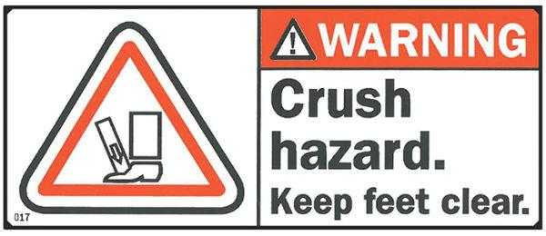 Decal, WARNING: Crush Hazard, 4.25? x 1.75""