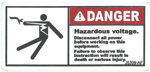 Decal, JetGo, DANGER: Hazardous voltage, 3? x 1.375""