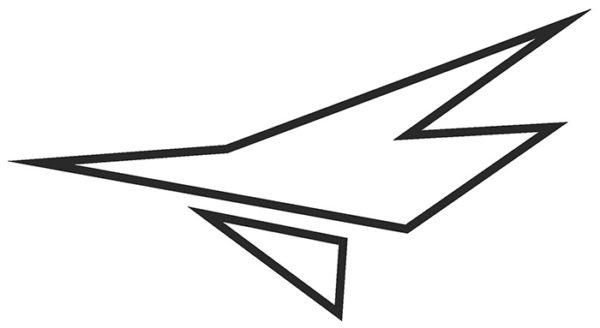 Decal, JetGo, Big Airplane Outline Black (left side), 9.125? x 5""