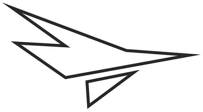 Decal, JetGo, Big Airplane Outline Black (right side), 9.125? x 5""