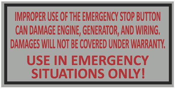 Decal, JetGo, Emergency Stop Damage Warning, 3? x 1.5""