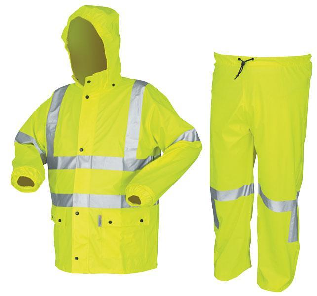 8503eb89bdc1 MCR Safety Luminator .40mm Class 3 PVC Cotton-Poly Blend Lime Rain Suit