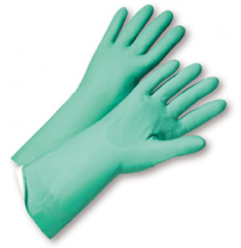 West Chester Posigrip 18 Mil Flock Lined Green Nitrile Chemical Resistant Gloves