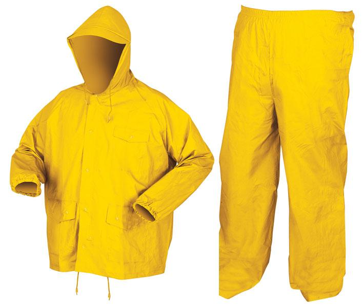 MCR Safety Challenger Yellow .18mm PVC/Nylon Light Weight Rain Suit Set