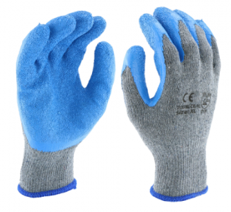 West Chester Blue/Gray 10 Gauge Crinkle Latex Palm Dipped Gloves
