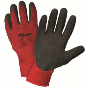 West Chester Zone Defense™ Black Latex Crinkle Coated Red Poly/Cotton Lined Gloves