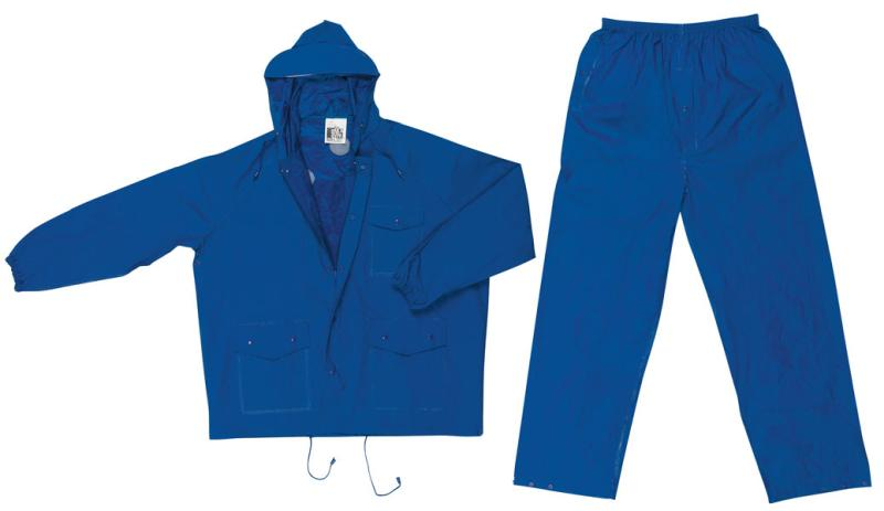 MCR Safety Challenger Blue .18mm PVC/Nylon Light Weight Rain Suit Set