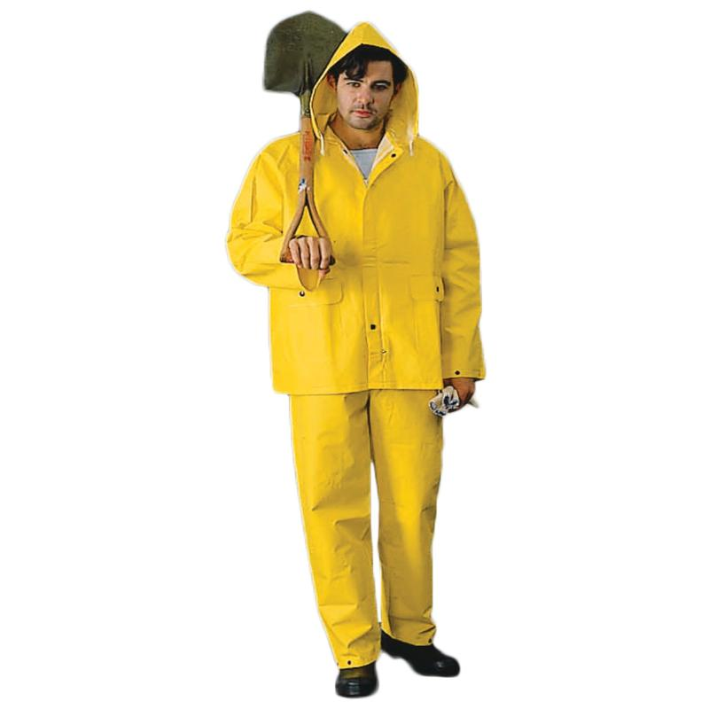 Heavy Weight PVC/Poly Rainsuit - Attach Hood, Yellow
