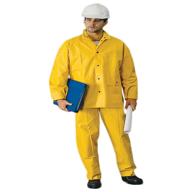 Heavy Weight PVC/Poly Rainsuit - Detach Hood Yellow