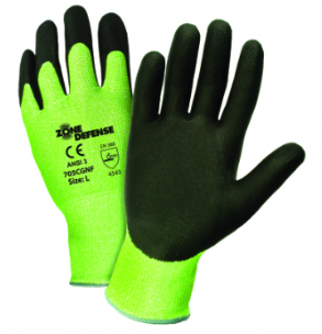 West Chester Zone Defense™ Black Nitrile Foam Palm Coated Green HPPE Gloves