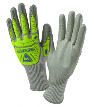 West Chester R2 Hi-Viz Yellow Gray PU Palm Coated Speckle Gray HPPE Gloves (TPR Protection)