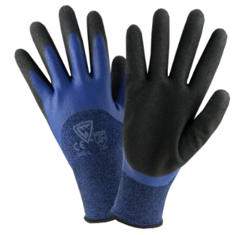 West Chester 13 Gauge Blue Polyester, Flat Latex, Sandy Latex Double Coated Gloves