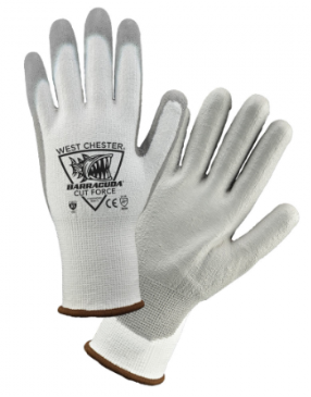 West Chester Barracuda Gray PU Palm Coated White HPPE Cut Resistant Gloves
