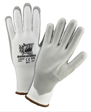 West Chester Barracuda Gray PU Dipped White HPPE Cut Resistant Gloves