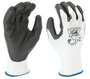 West Chester Barracuda 13 Gauge Black/White PU Dipped HPPE Cut Resistant Gloves
