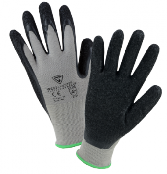 West Chester 13 Gauge Black Latex Palm Coated Gray Nylon Lined Gloves