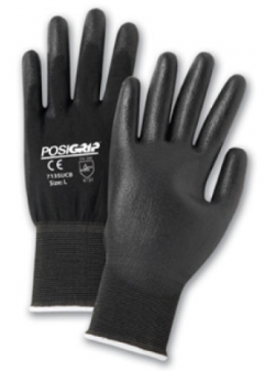 West Chester PosiGrip™ Black PU Palm Coated Black Nylon Gloves