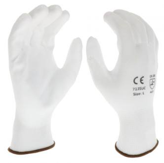 West Chester PosiGrip™ White PU Palm Coated White Nylon Gloves