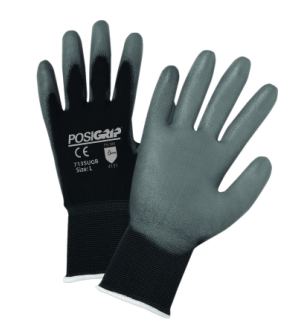 West Chester PosiGrip™ Gray PU Palm Coated Black Nylon Gloves