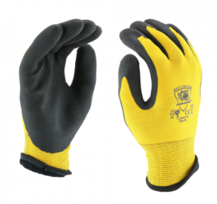 West Chester Barracuda 7 Gauge Black Acrylic Dipped Palm 13 Gauge Yellow Nylon Gloves