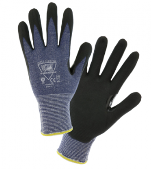 West Chester Barracuda 15 Gauge Blue HPPE Black Microfoam Nitrile Dipped Gloves