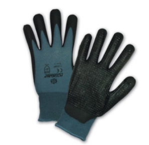 West Chester Black Bi-Polymer Coated/Dotted Palm Gray Nylon Gloves