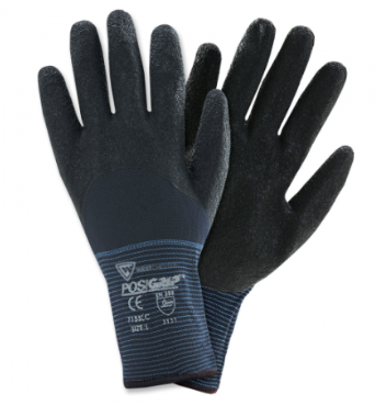 West Chester Black Crinkle Latex 3/4 Coated Blue Nylon Gloves