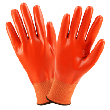 West Chester Orange Flat Fully Coated Nitrile Gloves