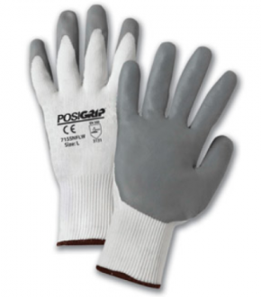 West Chester PosiGrip™ White Nylon Shell Gray Lunar Foam Nitrile Palm Dipped Gloves