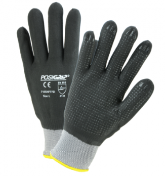 West Chester Gray Nylon/Spandex Dotted Shell Black Microfoam Nitrile Full Dipped Gloves