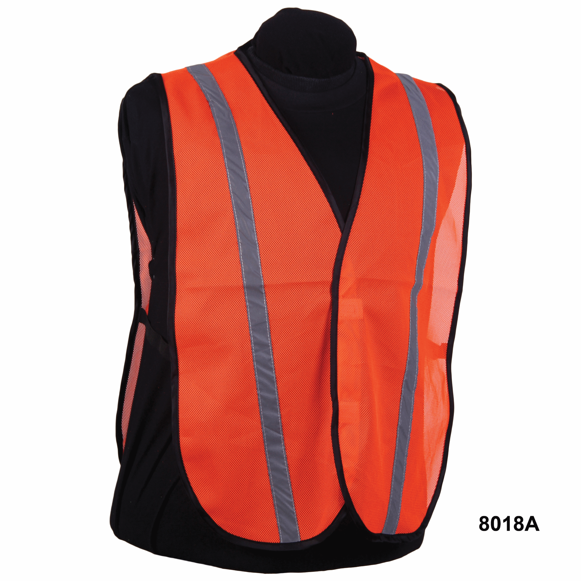 Nylon Orange Mesh Vest w/ Silver Stripe