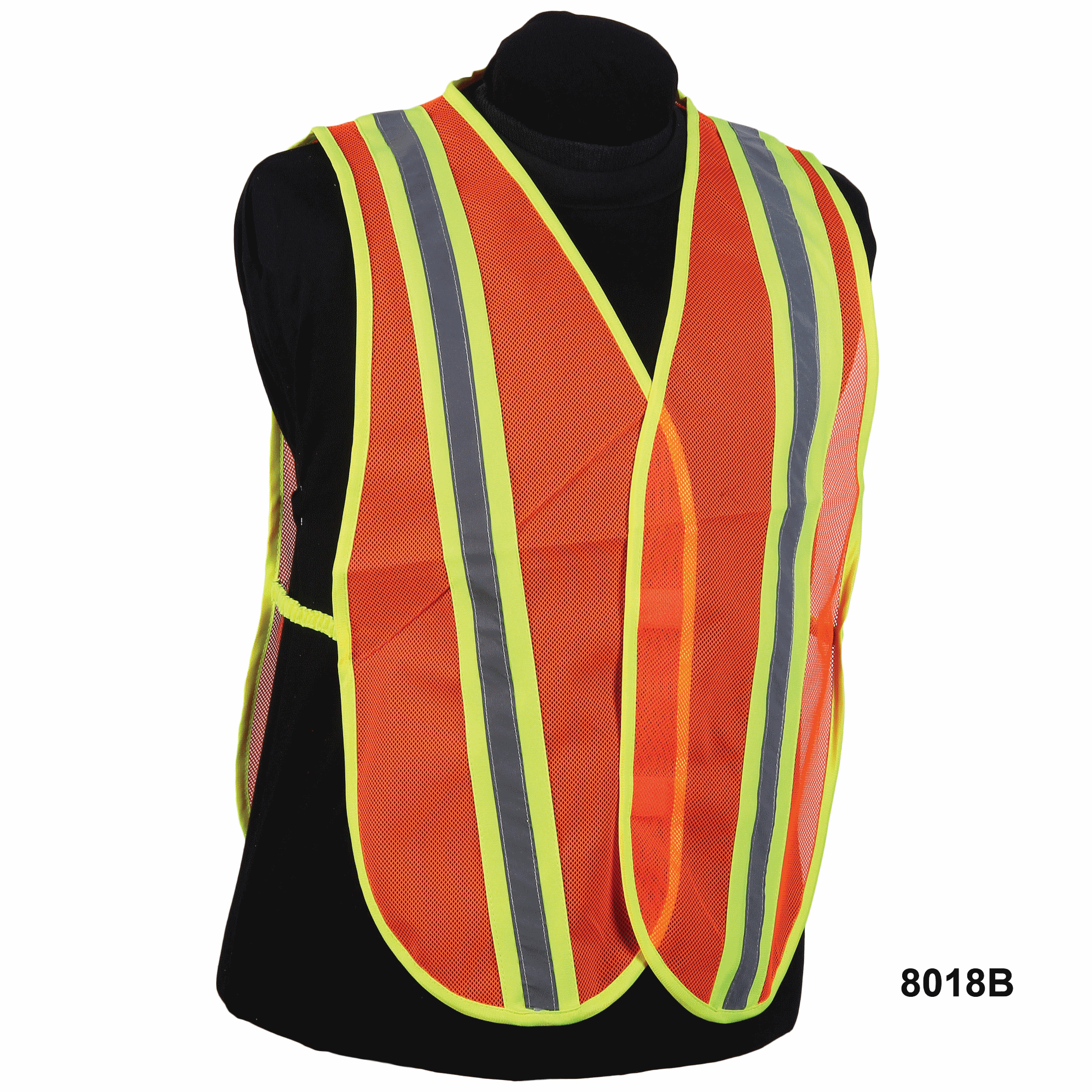 Nylon Orange Mesh Vest w/ Silver & Yellow Stripe