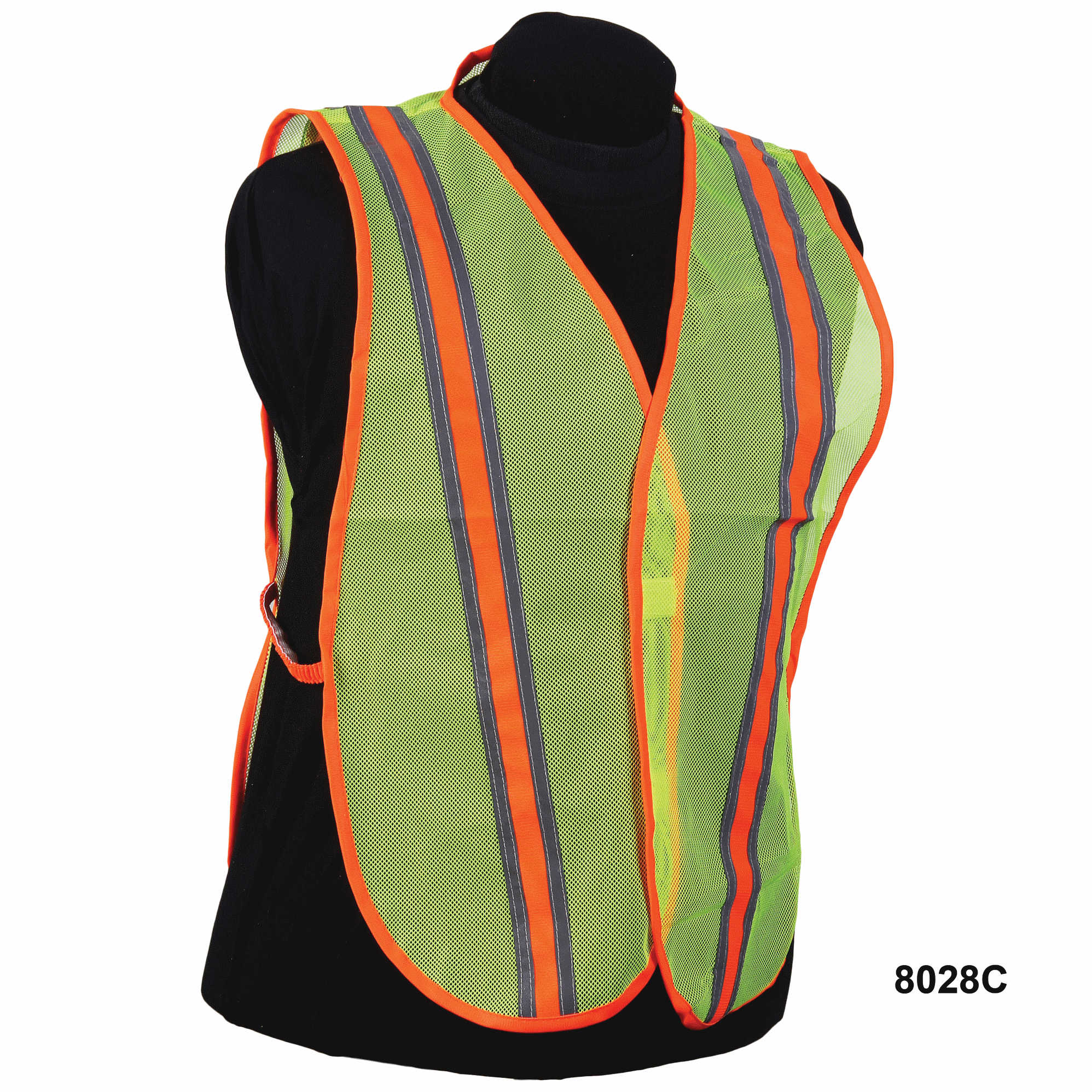 Nylon Lime Mesh Vest w/ Orange Stripe