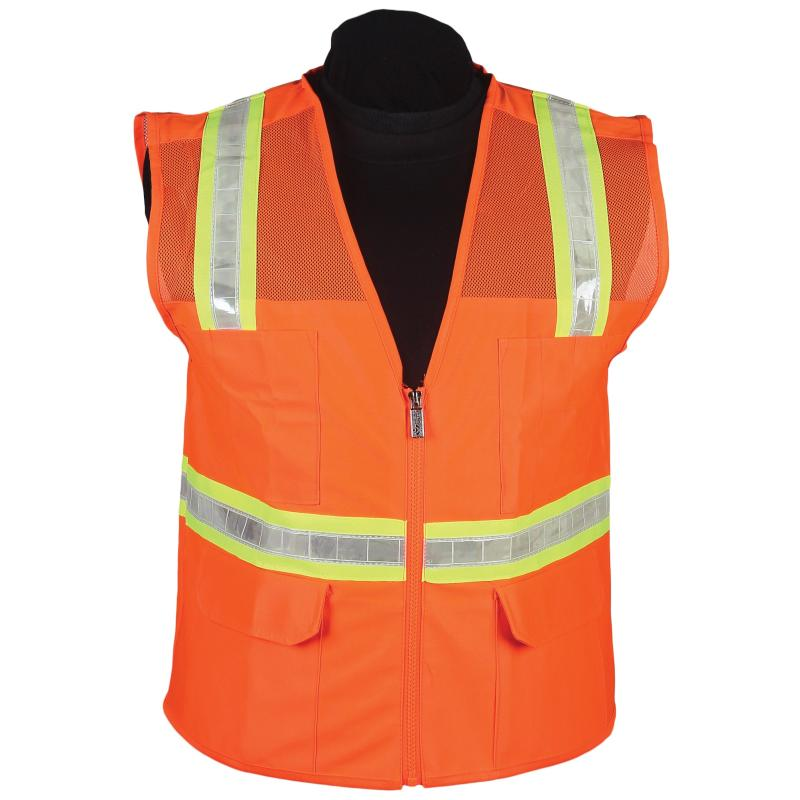 Orange Mesh Surveyor Vest with Stripe