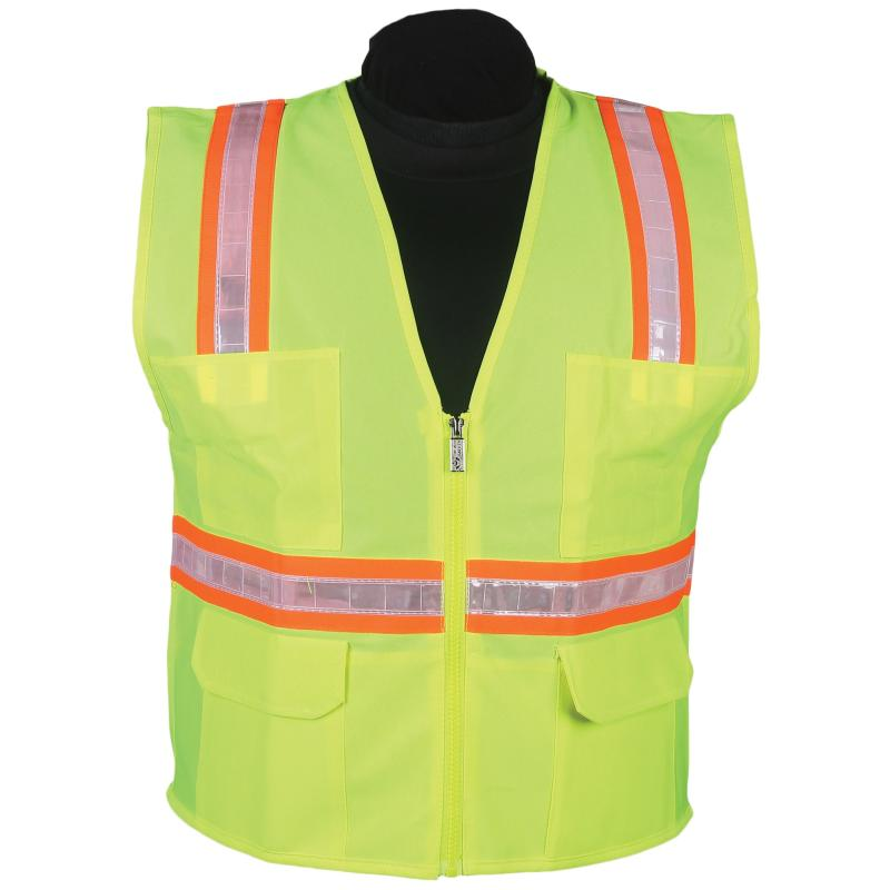 Lime Surveyor Vest with Stripe