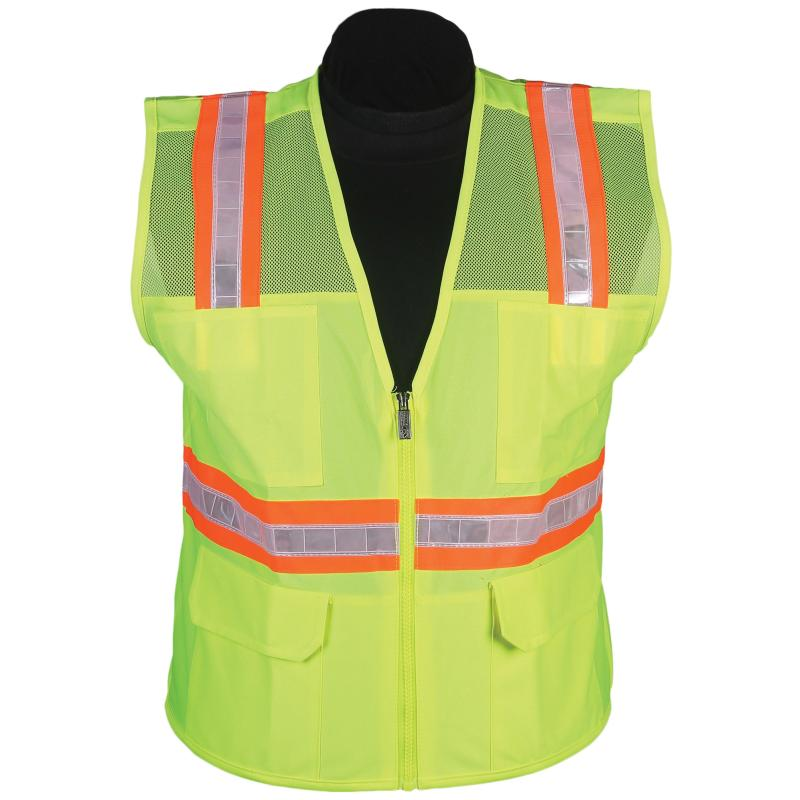 Lime Mesh Surveyor Vest with Stripe