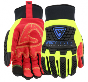 West Chester R2 Red/Yellow Safety Rigger Insulated Reinforced Comfort High Dexterity Gloves