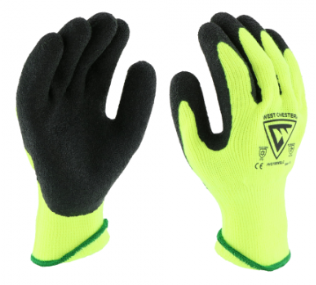West Chester 10 Gauge Yellow Hi-Viz Liner & Crinkle Latex Palm Coated Gloves