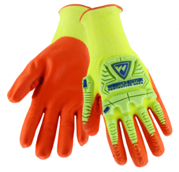 West Chester Yellow/Orange Hi-Vis HPPE Kevlar Reinforced Thumb Foam Nitirle Palm Coated Gloves