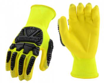 West Chester Yellow Hi-Vis Impact Protection Polyester Foam Nitrile Dipped Gloves